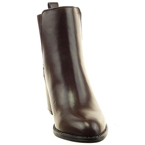 Sopily - Scarpe da Moda Stivaletti - Scarponcini chelsea boots alla caviglia donna Tacco a blocco tacco alto 8 CM - soletta Foderato di Pelliccia - Marrone