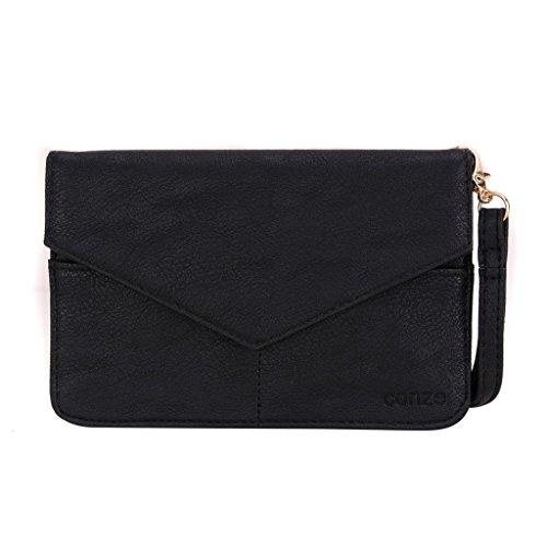 Conze Mujer embrague cartera todo bolsa con correas de hombro compatible con Smart teléfono para HTC Deseo 820/820q Dual SIM/820S Dual Sim/820G + dual sim negro negro negro