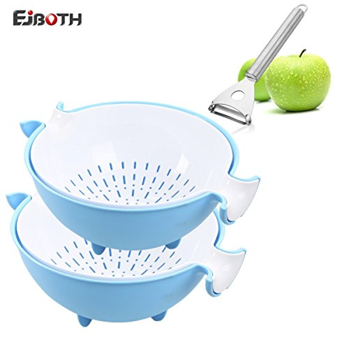 ANEWSIR 2X Double Layer Draining Basket, Washing Bowl Strainer Colander Basin for Fruits Vegetable Cleaning [Blue]