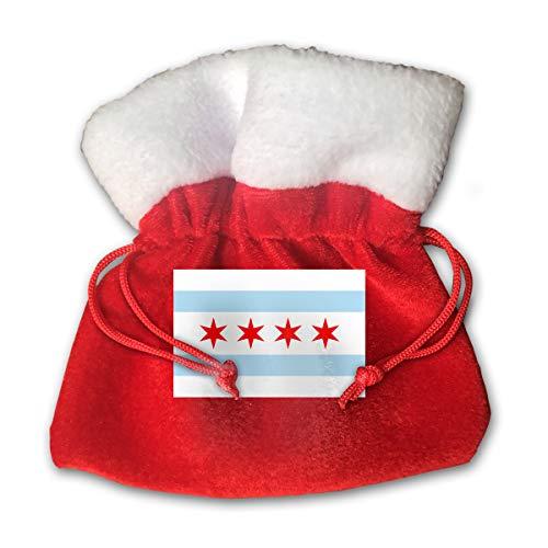 CYINO Personalized Santa Sack,Flag of Chicago Portable Christmas Drawstring Gift Bag (Red)