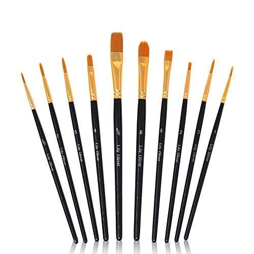 Lily + Oliver Artist Paint Brushes 10 Pieces Set Nylon Hair Fine Tip Round Pointed Flat for Professional Watercolor Acrylic Oil Canvas (Fine Arts Canvas Painting)