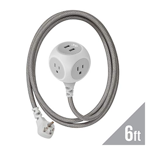 360 Electrical 360470 Habitat Braided Extension Cord w/ 2.4A Dual USB, 6 ft, Modern - ()