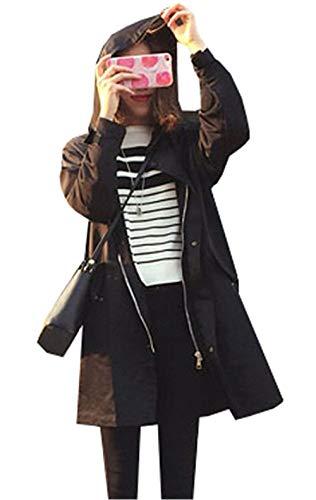 Larga Schwarz Chaqueta Gabardina Impresión Manga Windbreaker Cómodo Capucha Mujer Anchos Delanteros Invierno Bolsillos Cremallera Carta Adelina Retro Unicolor Con nUxqfzwZ55