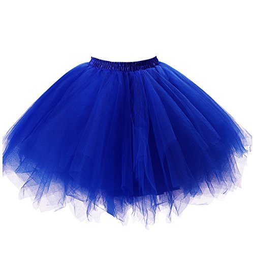 Ellames Women's Vintage 1950s Tutu Petticoat Ballet Bubble Dance Skirt Royal Blue (Blue Tutu Adult)