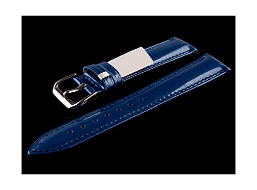 New Design 16mm 18mm 20mm Blue Soft Watch Strap Shine Patent Leather Band for Women Desallusa-Watch-Strap-JAMAS829 Watchbands 1 Genuine Cowhide