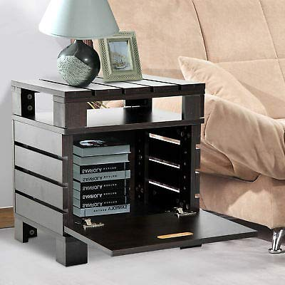 Wooden End Table Side Desk Night Stand Living Room Storage Cabinet w/Door