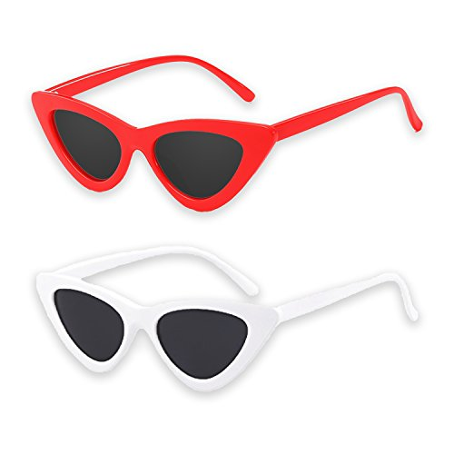 Cat Eye Sunglasses Clout Goggles Bundle of White & Red Vintage Mod Style Retro Gigi Hadid - Sunglasses Style Mod