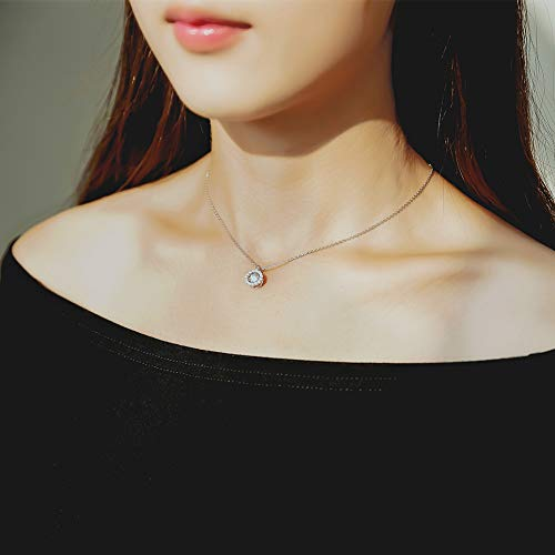 ZowBinBin Sterling Silver Dancing Cubic Zirconia Pendant Necklace Perfect Gift for Christmas Day Valentine s Day