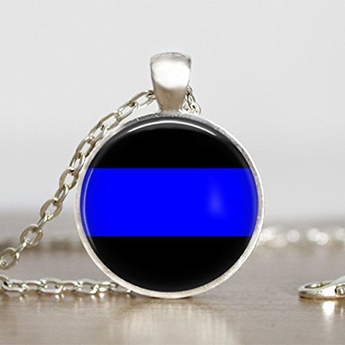 Thin Blue Line Glass Pendant Necklace 25mm Silver Tone (Jewelry Police)