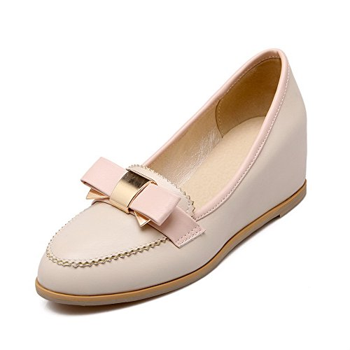 VogueZone009 Women's Round Closed Toe Kitten-Heels Soft Material Pull-On Pumps-Shoes Beige lmeoWa