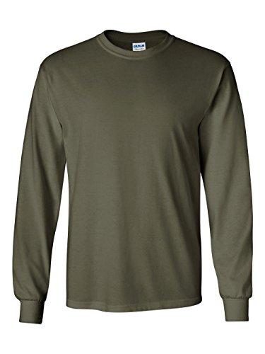 Gildan 6.1 oz. Ultra Cotton Long-Sleeve T-Shirt, Military Green, (Army Long Sleeve Tee)
