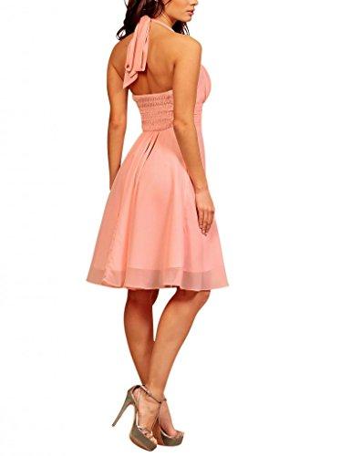 My Evening Dress - Elegante vestido corto de cóctel de gasa y cuello halter vestido formal ideal para damas de honor rosa claro