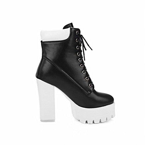 Latasa Kvinna Plattform Blocket Hög Klack Spets-up Boots Svart (med Vit Häl)
