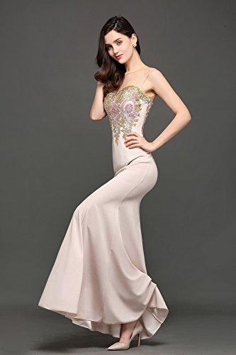 Abendkleider Damen Rosa MisShow Elegant Brautjungfernkleider 46 32 Ärmlos Gr 2017 Chiffon Lang Hell 6TZq4WFAT