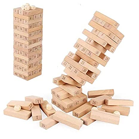 Sricam 51pcs Wooden Tumble Tower Game Building Blocks Stacking Toy Board Game for Kids and Adults Sricam191092