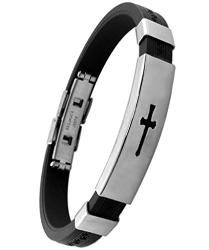 Aooaz Jewelry Stainless Steel Silver Cross Black Silicone Chain Length 8.5Inch - Mens Braclet