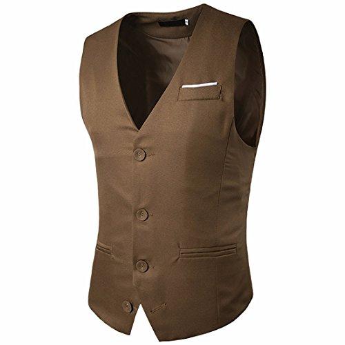 Slim Kaki Décontractés Gilet Robe Skinny Fit Veste Costume Hommes z Texture Qiyun aP1RZx
