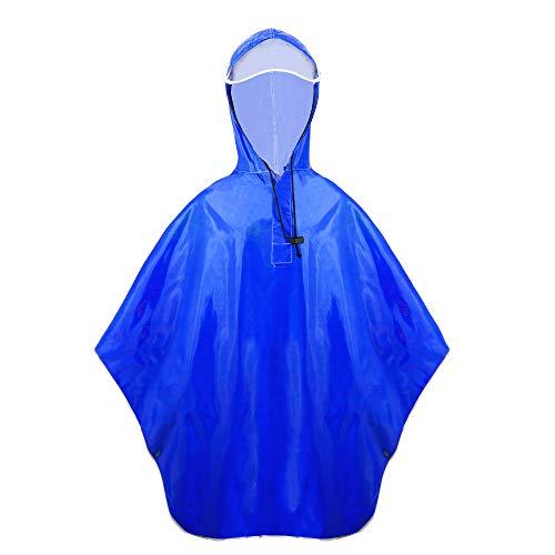 (Balnna Heavy Duty Rain Poncho and Zipper Waterproof Raincoat for Outdoor Activities-Blue)