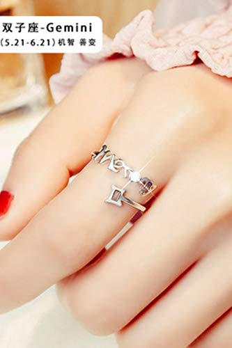 (Buy 2 get one Free) Twelve Constellations Zodiac Ring Ring Influx People Tail Ring Women Girls Pinkie Ring Opening Index Finger (Gemini