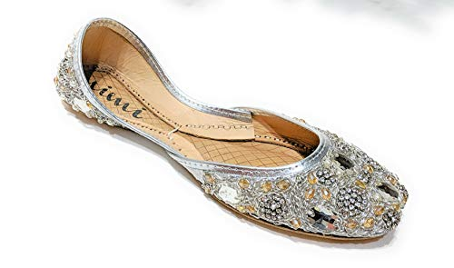 Mimi Silver Wedding Flats for Bride Handmade Jutti Shoes Size 8 (Indian Embroidered Sandals)