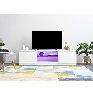 Meuble TV avec LED en Verre sur Salle de Séjour, Salon et Chambre à Coucher etc, 160 x 39 x 40 cm, Poids: 25 kg, Blanc