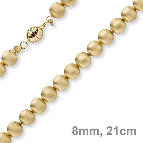 8mm Boule bracelet chaîne Bijou Bracelet en or jaune 585Mat 21cm