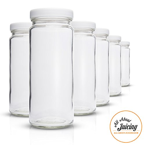 Glass Storage Bottles (Clear Glass Water Bottles Set - 6 Pack Wide Mouth with Lids for Juice, Smoothies, Beverage Storage - Made in USA - 16 oz, Durable, Eco Friendly & BPA Free - Reusable, Dishwasher Safe, Leak Proof)