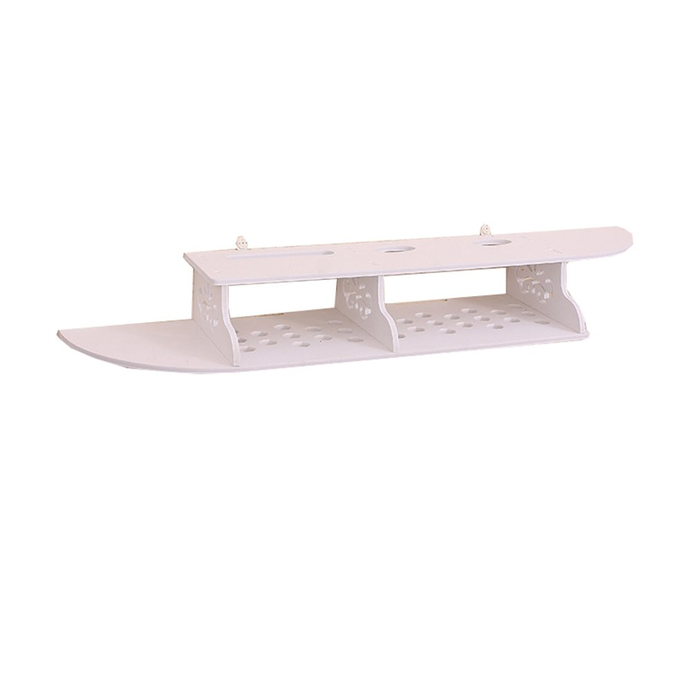 Ucan Wall Shelf Wood Floating Holders Hanging Shelf Brackets for TV Boxes, Router White (Arc)