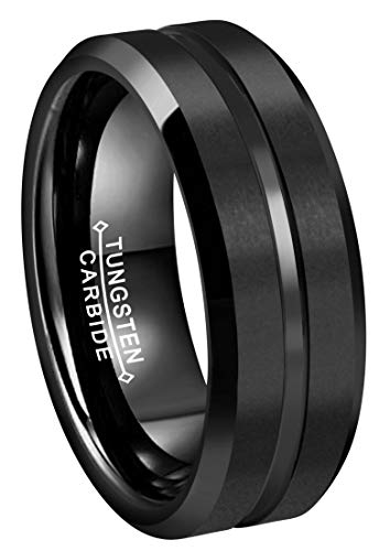 RoyalKay 6mm 8mm CLASSIC Black Tungsten Carbide Wedding Band Ring Matte Finish Grooved Center Comfort Fit Size 5 To 17 (8mm,11) by RoyalKay