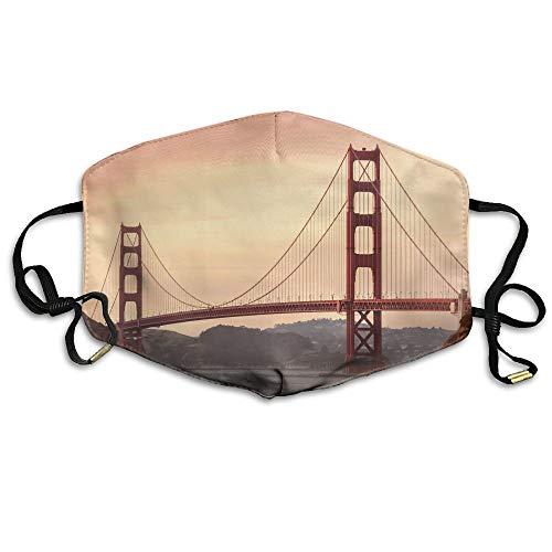 Golden Gate Bridge Tours San Francisco Printed Mouth Masks Unisex Anti-dust Masks Reusable Face Mask ()