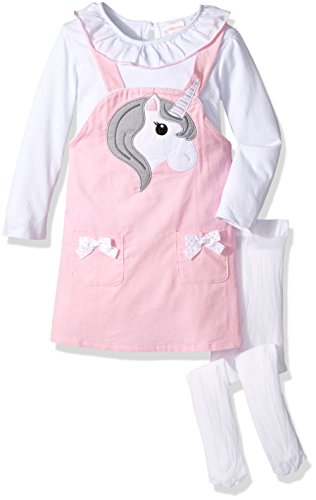 Youngland Toddler Girls' Animal Face Jumper, Top and Tights Outfit, Horse/Pink/White, 4T ()