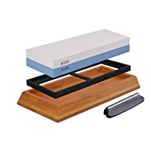 Chef Choice Knife Sharpening Stone With Non-slip Bamboo Base & Angle Guide Holder. Premium Whetstone with two sided Grit 1000/6000. Ideal for Kitchen & Pocket Knife, Scissors & Blades.