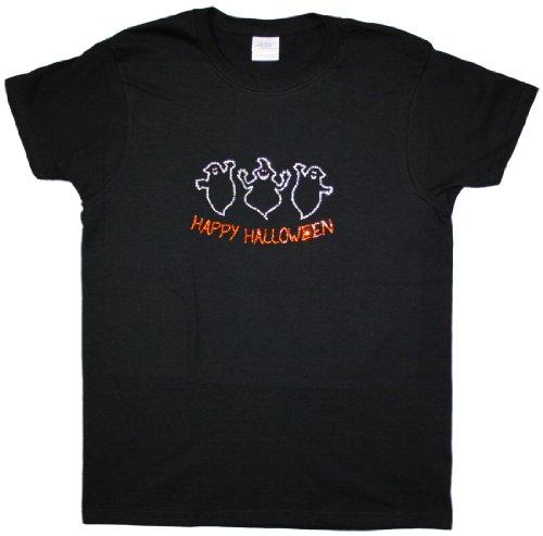 A+ Images, Inc. Happy Halloween with 3 Ghosts Rhinestone T-Shirt - Black, Medium (Halloween Tshirt)