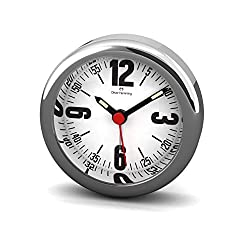 Desire Mini Collection Chrome Steel Alarm Clock on White with Bold Number Dial