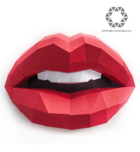 DIY Sensual Woman Lips Paper Craft Mouth Sculpture 3D Puzzle, Papercraft precut kit for wall mount low poly, ORIGADREAM]()