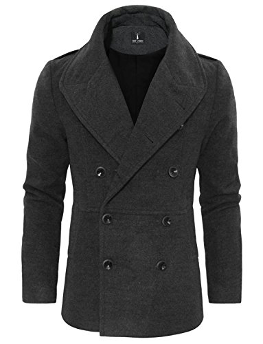 Tom's Ware Men's Stylish Large Lapel Double Breasted Pea Coat TWCC16-CHARCOAL-US ()