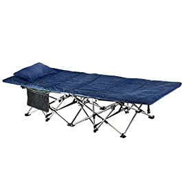 ELTOW Cozy Folding Camping Cot – Heavy-Duty Portable Collapsible Sleeping Bed with Pillow and Mattress – Superior…