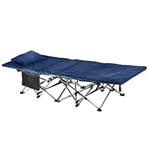 ELTOW Cozy Folding Camping Cot – Heavy-Duty Portable Collapsible Sleeping Bed with Pillow and Mattress – Superior Camping Gear with Strong Steel Frame and 1680D Oxford Fabric – Supports 400 Pounds