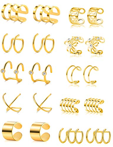 Tone Earrings Sport Gold - Tornito 4-10 Pairs Stainless Steel Ear Cuff Helix Cartilage Clip On Wrap Earrings Fake Nose Ring Non-Piercing Adjustable (A1:10 Pairs, Gold Tone)