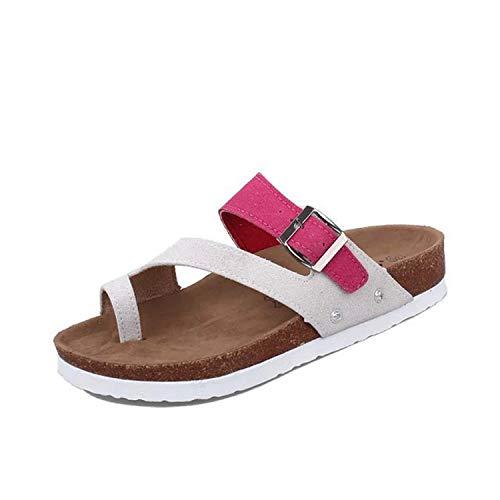 Fashion Women's Shoes Comfortable Flat Slip Slip Open Toe Wild Beach Sandals,Pink,7.5