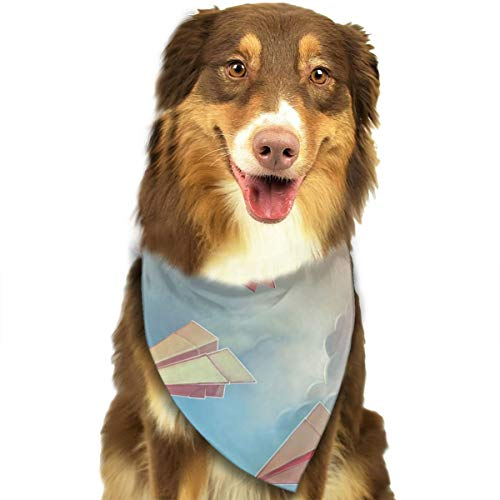OURFASHION Paper Airplanes Origami Bandana Triangle Bibs Scarfs Accessories Pet Cats Puppies.Size is About 27.6x11.8 Inches (70x30cm).