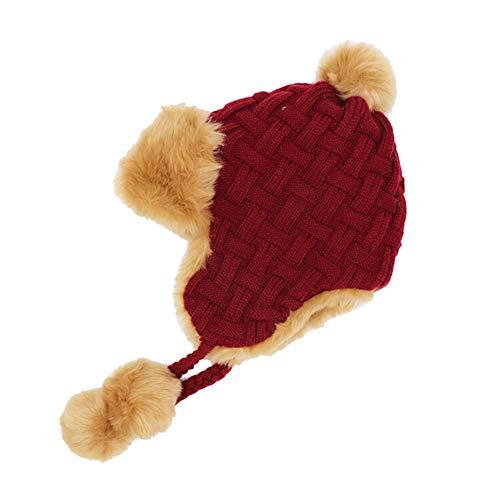 CHUANGLI Womens Cable Knit Wool Hats Pom Beanie Earflap Trapper Cap Aviator Cap Winter Ski Hat