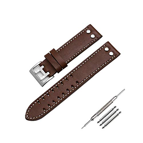 (20 mm, Smooth Brown(Silver Buckle)) Leather Watch Band Strap Fits for Hamilton Khaki Field Aviation H70595593