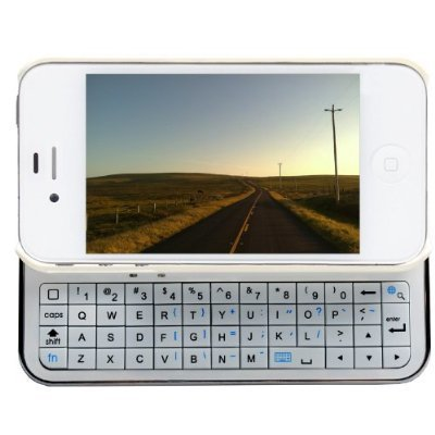 FlyStone® Ultra-thin Wireless Backlit Bluetooth Slid-out Keyboard + Protect Bumper Rubberized Hard Shell Case for Apple iPhone 4/4S, Comes with FlyStone Stylus (WHITE) (Bluetooth Iphone 4s Keyboard)