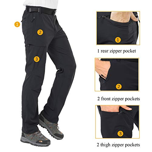 MIER Men's Hiking Pants Lightweight Stretchy Cargo Pants with Side Elastic Waist, 5 Large YKK Zipper Pockets, Quick Dry, Black, S