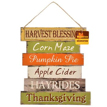 Wooden Harvest Welcome Wall/Door Hanging Sign (Thanksgiving) (Christmas Homemade Cardboard Village)