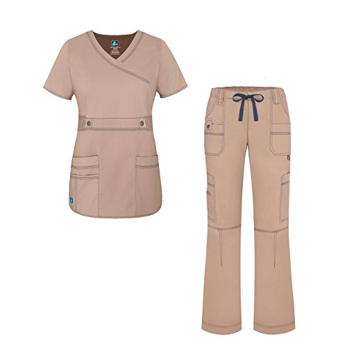 Adar Pop-Stretch Junior Fit Women's Scrub Set - Crossover Top and Multi Pocket Pants - 3500P - Khaki - L (Khaki : Womens Clothing Accessories)