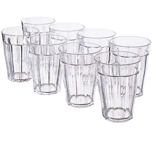 Reusable Drinking Cups - Rhapsody 12-ounce Faceted Plastic Rocks Tumblers | set of 8 Clear
