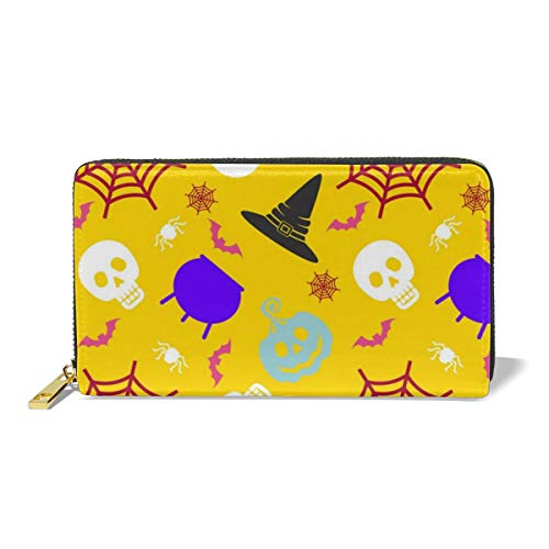 Socoolbao Halloween Icons of Skull Leather Wallet Women Girls Printing Long Wallet with Zipper Pocket for Cash Coin Receipt ID Card Credit Card-Clutch Purse