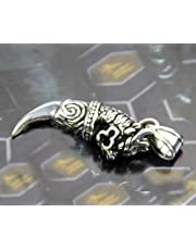 Men's Titanium Wolf Tooth Pendant 003 with Stainless Steel Chain Necklace